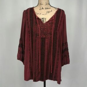 Avenue burgundy hippie boho top 18/20